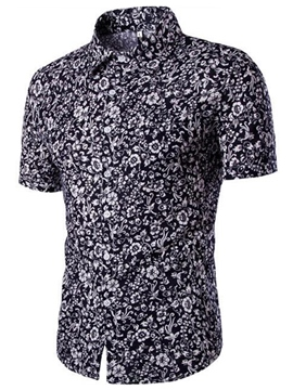 Ericdress Floral Printed Short Sleeve Men's Shirt