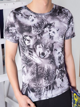 Ericdress Smooth Silk Wolf Print Men's T-Shirt