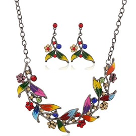 Multicolor Drip Leaves Two-Piece Jewelry Set