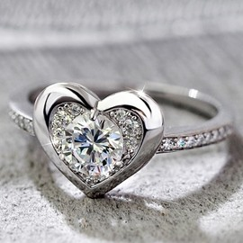 Ericdress Heart Shaped Design Zircon Ring