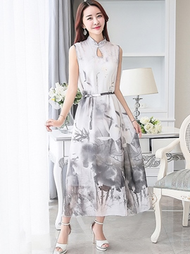 Ericdress Print Stand Collar Casual Dress
