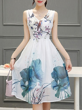 Ericdress Dye Print V-Neck Skater Casual Dress