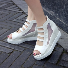 Ericdress Popular Mesh Patchwork Peep Toe Wedge Sandals