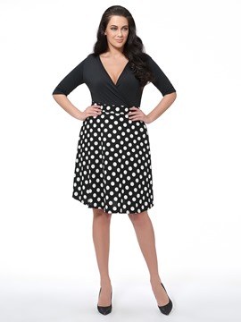 Ericdress Polka Dots V-Neck Plus Size Casual Dress