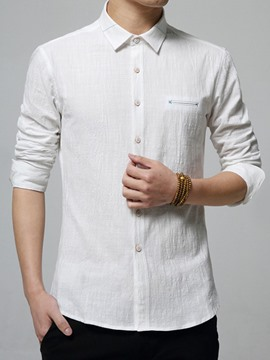 Ericdress Plain Long Sleeve Linen Men's Shirt
