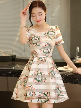 Ericdress Stripe Print Casual Dress