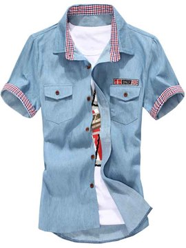 Ericdress Denim Short Sleeve Casual Men's Shirt