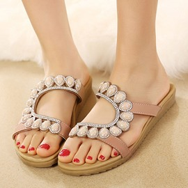 Ericdress Ethnic Beaded Open-Toe Flip-Flops