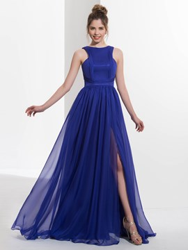Ericdress A-Line Scoop Pleats Split-Front Sweep Train Prom Dress