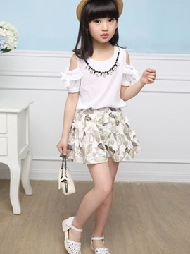 Ericdress Off-Shoulder Girls Shorts Outfit