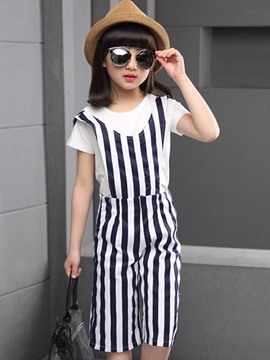 Ericdress Stripe Suspender Pants Girls Outfit