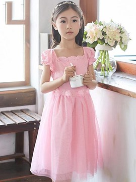 Ericdress Solid Color Pleated Mesh Girls Dress