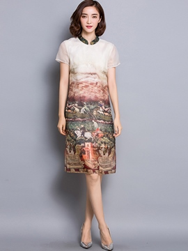 Ericdress Silk Vintage Print Casual Dress