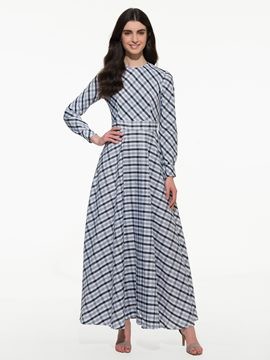 Ericdress Plaid Lace-Up Long Maxi Dress