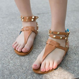 Ericdress Rivets Thong Flat Sandals