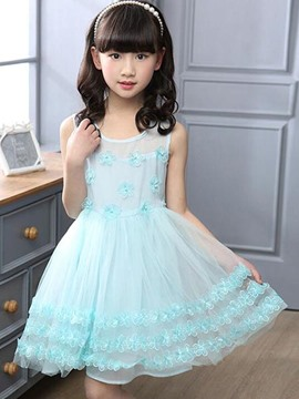 Ericdress Sleeveless Mesh Pleated See-Through Girls Dress