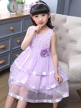 Ericdress Solid Color Sleeveless Pleated Girls Dress
