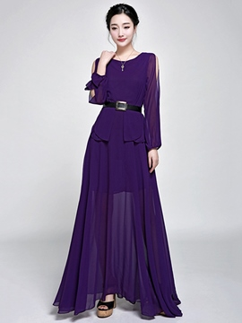 Ericdress Soild Color Peplum Belt Maxi Dress