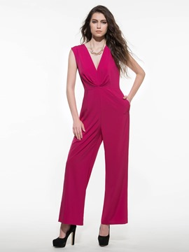 Ericdress Elegant V-Neck Pleated Jumpsuits Pants