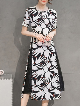 Ericdress A-line Print Patchwork Ankle-Length Maxi Dress