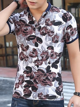 Ericdress Floral Vogue Stand Collar Slim Men's T-Shirt