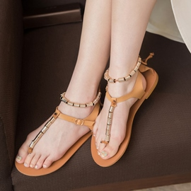 Ericdress Roman Metal Clip Toe Flat Sandals