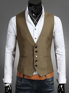 Ericdress Plain Slim Vogue Men's Vest