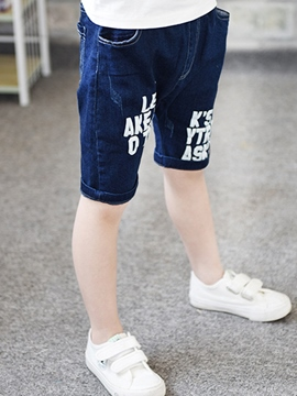 Ericdress Denim Letter Boys Shorts
