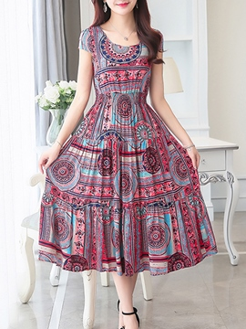 Ericdress Short Sleeve Geometry Print Maxi Dress