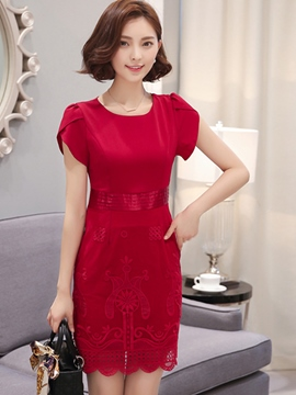 Ericdress Soild Color Embroidery Bodycon Dress