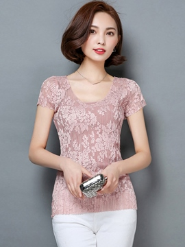 Ericdress Slim Solid Color See-Through Lace T-Shirt