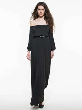 Ericdress Solid Color Slash Neck Long Maxi Dress