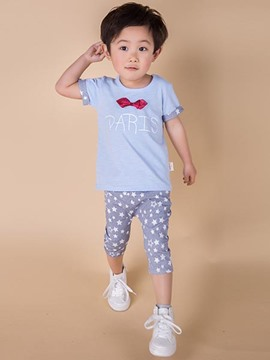 Ericdress Bowknot Patchwork Print Boys Outfits