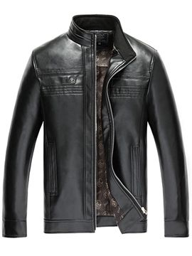 Ericdress Stand Collar Zip PU Vogue Men's Jacket