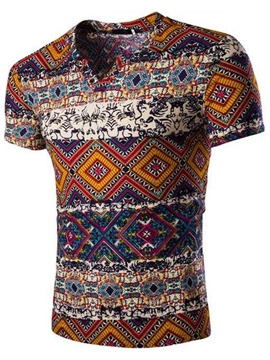 Ericdress Vintage Printed V-Neck Men's T-Shirt