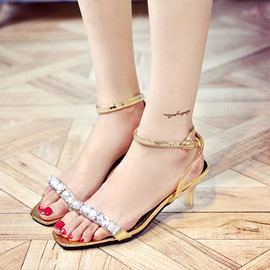 Ericdress Fashion Rhinestone Open Toe Stiletto Sandals