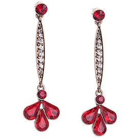 Long Red Gem Flower Stud Earrings