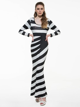 Ericdress Stripe Round Neck Long Sleeve Maxi Dress
