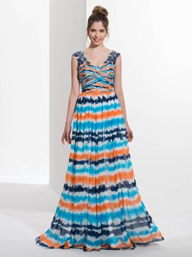 Ericdress A-Line V-Neck Appliques Sequins Sweep Train Prom Dress