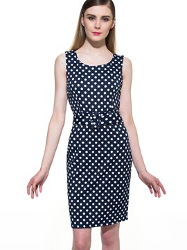 Ericdress Polka Dots Sleeveless Sheath Dress