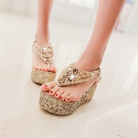 Ericdress Rhinestone&sequins Thong Wedge Sandals