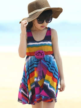 Ericdress Color Block Sleeveless Girls Dress