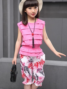 Ericdress Patchwork Pleated Girls Outfit