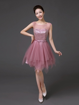 Ericdress A-Line Scoop Beading Bowknot Sashes Knee-Length Homecoming Dress