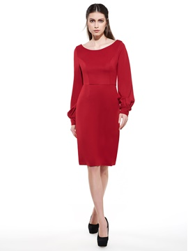 Ericdress Soild Color Long Sleeve Sheath Dress