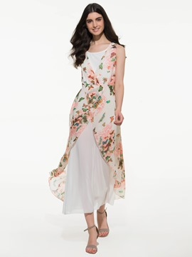 Ericdress White Floral Print Double-Layer Sleeveless Maxi Dress