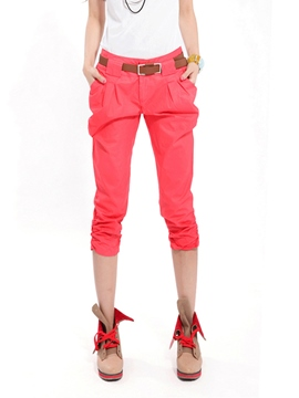 Ericdress Solid Color Pleated Pants
