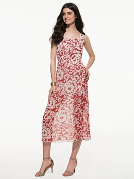 Ericdress Printed Sleeveless Maxi Dress