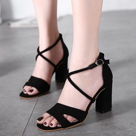 Ericdress Cross Strap Open Toe Chunky Sandals