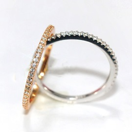 Ultra Narrow Zircon Thin Silver Ring